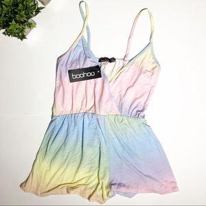 Boohoo pastel unicorn rainbow romper